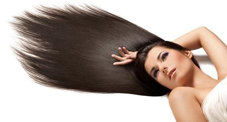 Belle brune aux cheveux longs Banque d'images - 39490110