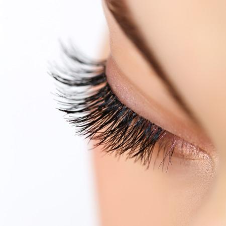 false eyelashes: Woman eye with long eyelashes