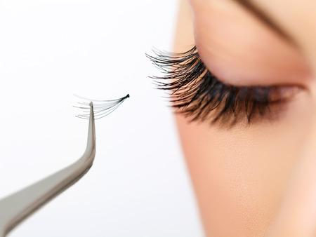 pinzas: Ojo de la mujer con las pestañas largas en extensión de pestañas