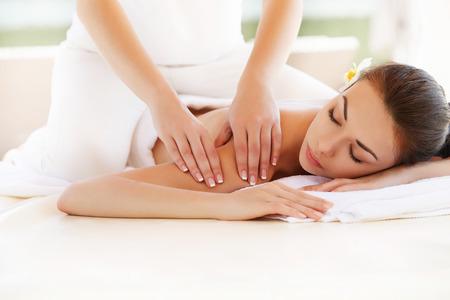 hand massage: Spa Woman. Close-up of a Beautiful Woman Getting Spa Treatment. Massage Stock Photo