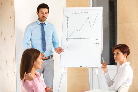 workteam: Business people meeting in office to discuss project Stock Photo
