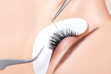 long: Woman Eye with Long Eyelashes. Eyelash Extension