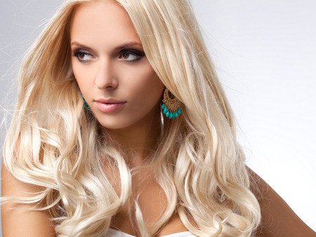 nude blonde woman: Blonde Hair. Portrait of beautiful blonde with Healthy Long Hair.