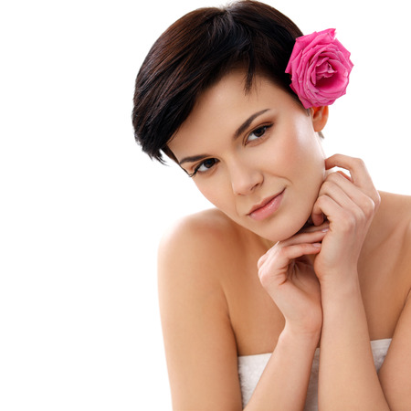 dayspa: Spa Woman. Close-up of a Beautiful Woman Getting Spa Treatment Spa Salon. Stock Photo