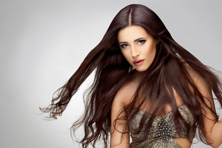good quality: Long Hair. Portrait of Beautiful  Woman with Long Brown Hair. Good quality retouching. Stock Photo