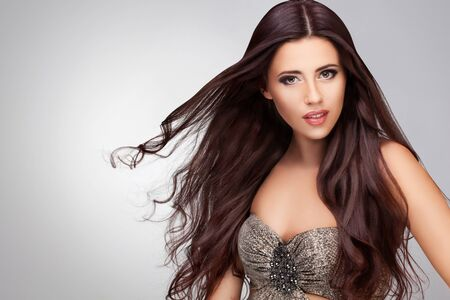 Long Hair. Portrait of Beautiful  Woman with Long Brown Hair. Stock Photo