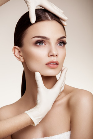 lift hands: Beautiful  Woman before Plastic Surgery Operation Cosmetology. Beauty Face