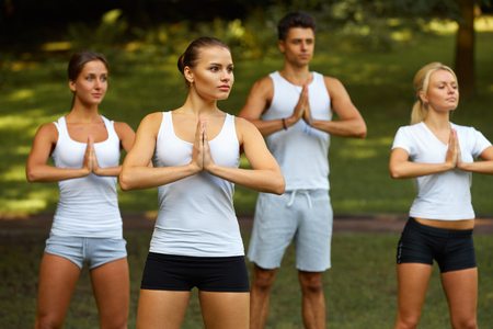 group of men: Yoga Class. Group of People Meditating At Summer Park
