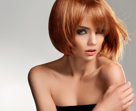 beautiful nude women: Red hair. Beautiful Woman with Short Hair. High quality image.