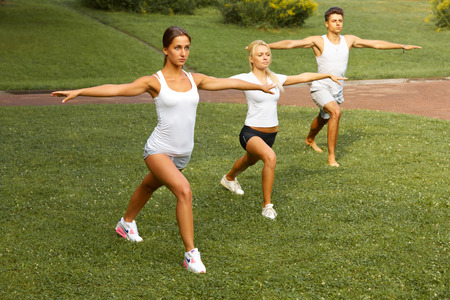 gym class: Fitness class. Portrait of smiling people doing power fitness exercise at summer park
