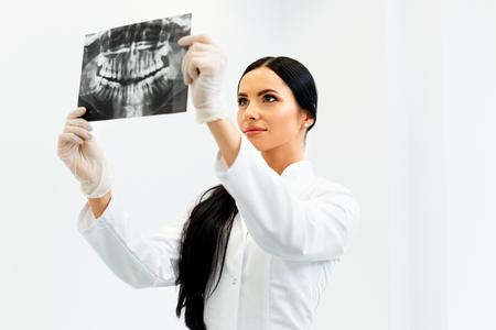 Female Dentist Looking at Dental Xray in Clinic Stock Photo