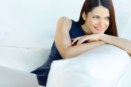 executive women: Portrait of Relaxed Business Woman at Office Stock Photo