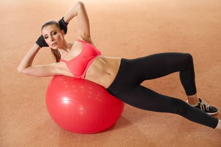 WOMAN FITNESS: Fitness Woman Exercising on Fitness ball