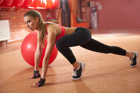 fitness ball: Fitness Woman Exercising on Fitness ball