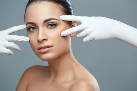 rejuvenating: Cosmetic surgery. Beautiful Woman before Plastic Operation. Beauty Face Stock Photo