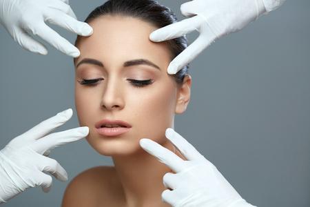 Cosmetic surgery. Beautiful Woman before Plastic Operation. Beauty Face Stock Photo