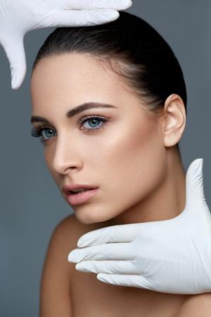 lift: Cosmetic surgery. Beautiful Woman before Plastic Operation. Beauty Face Stock Photo