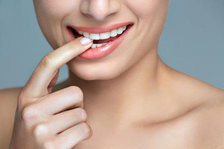 teeth smile: Woman smile. Teeth whitening. Dental care. Stock Photo