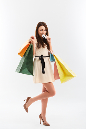 happy shopping: Happy woman holds a credit card and shopping bags