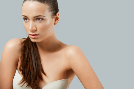 skin care woman: Portrait of Beautiful Woman. Cosmetology. Skin Care Stock Photo