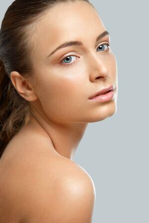pretty face: Portrait of Beautiful Woman. Cosmetology. Skin Care Stock Photo