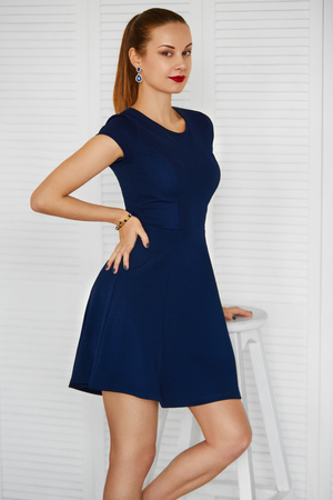 woman dress: Fashion Woman. Beautiful Sexy Elegant Beauty Girl Wearing Blue Dress. Wellbeing, Luxury Lifestyle. Full Length Portrait. Stock Photo
