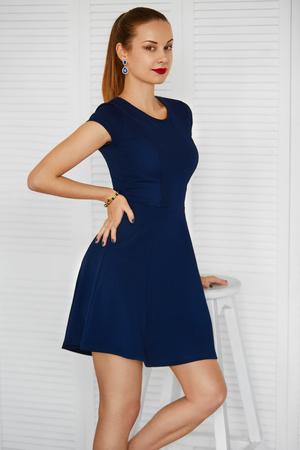 mujer elegante: Manera de la mujer. Hermosa atractiva elegante belleza de la muchacha desgasta la alineada azul. Bienestar, estilo de vida de lujo. Retrato de cuerpo entero.