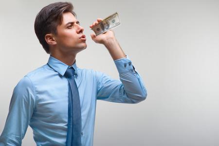 power of money: Businessman and Money. Money Power Concept