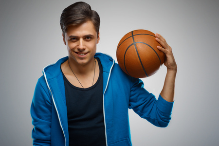 young man portrait: Portrait of a young man basketball player