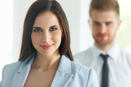 happy work: Business Team. Portrait of Successful Business People. Business Partners Stock Photo