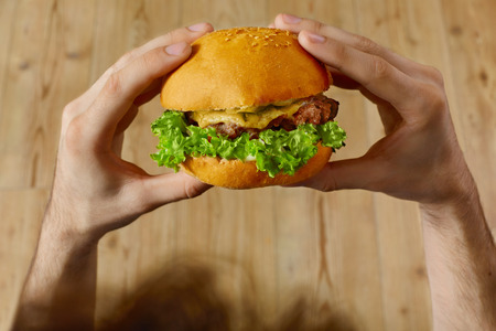 close up food: Eating Fast Food. Close Up Of Mans Hands Holding Delicious Classic American Hamburger Stacked With Beef Patty, Cheese, Lettuce, Onion And Tomato On Fresh Bun With Sesame. Point Of View. Nutrition