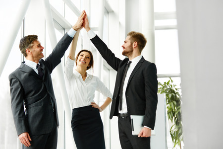 handshaking: Business Team. Successful Business People Celebrating a Deal