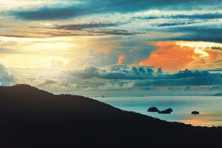 sea scenery: Nature Background. Scenic View Landscape Of Paradise Island During Sunset Or Sunrise Over The Sea With Beautiful Sky, Fluffy Cumulus Clouds. Beauty Scenery. Travel To Thailand. Tourism, Vacations.