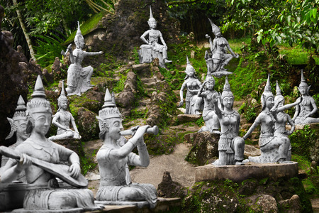 Thailand. Closeup Of Magic Secret Buddha Garden Stone Statues In Koh Samui. Figures Of Human And Deities Dancing And Playing. Place For Relaxation And Meditation. Buddhism. Travel To Asia, Tourism.