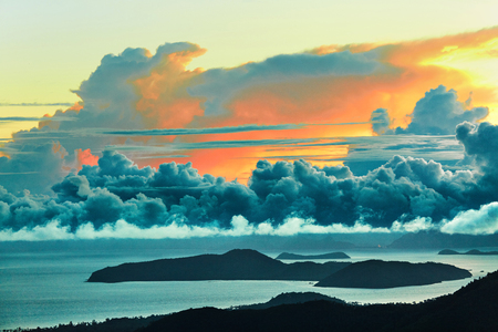 nature scenery: Nature Landscape. Scenic View Of Paradise Island During Sunset Or Sunrise Over The Sea With Beautiful Sky, Fluffy Cumulus Clouds. Beauty Scenery Background. Environment. Travel To Thailand. Tourism