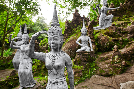 deities: Thailand. Amphitheater Of Human And Deities Stone Statues In Buddha Magic Garden Or Secret Buddha Garden In Koh Samui Island. Place For Relaxation And Meditation. Buddhism. Travel To Asia, Tourism. Stock Photo