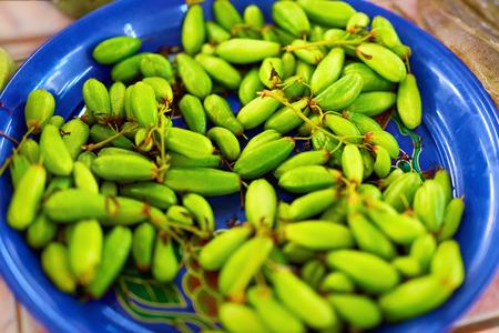 bilimbi: Healthy Fresh Raw Food. Close Up Of Organic Green Bilimbi Averrhoa Bilimbi, Tree Sorrel, Taling Pling Fruit, Belimbing In The Farmers Market In Thailand, Asia. Asian Fruits. Nutrition, Ingredient