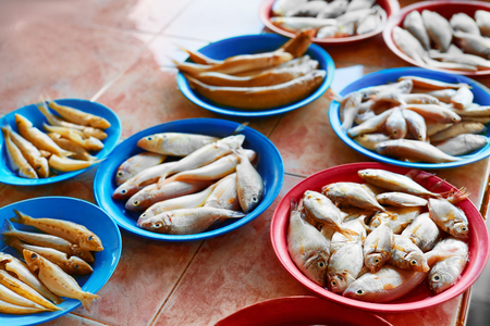 d: Seafood. Fish Market. Close Up Of Variety Of Fresh Caught Raw Different Species Fish At Market In Thailand, Asia. Healthy Food Eating. Nutrition, Diet And Vitamins. Stock Photo