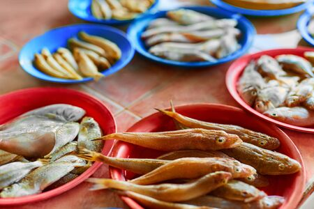 vitamin d: Seafood. Fish Market. Close Up Of Variety Of Fresh Caught Raw Different Species Fish At Market In Thailand, Asia. Healthy Food Eating. Nutrition, Diet And Vitamins. Stock Photo