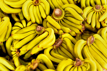 potassium: Fruits. Bunch Of Thai Cultivated Fresh Organic Yellow Ripe Bananas At Street Farmer Market ( Grocery Store ) In Koh Samui, Thailand, Asia. Eating Healthy Raw Potassium Rich Food. Background.