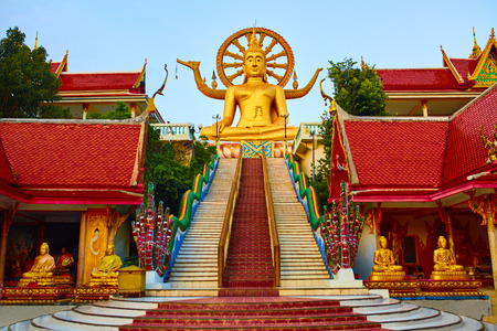 Samui: Religion In Thailand. Golden Statue Of Buddha With Dragon Staircase In Wat Phra Yai, The Big Buddha Temple At Koh Samui. Place For Praying, Meditation. Buddhism. Religious Symbol. Travel, Tourism.