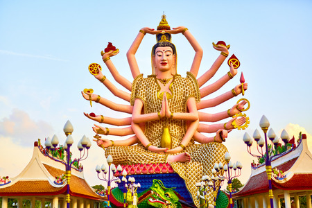 bodhisattva: Thailand Landmark. Statue Of Big Eighteen Arms Guan Yin Shiva, Buddha Cundi Bodhisattva In Wat Phra Yai, The Big Buddha Temple At Koh Samui. Buddhism Religion Symbol. Spirituality.Travel, Tourism