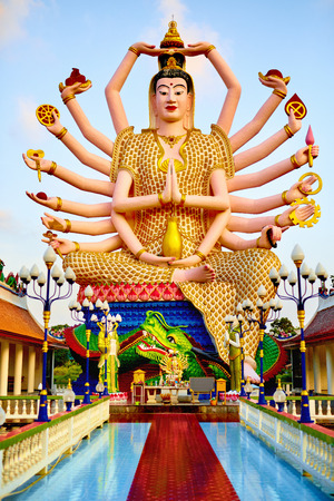 Thailand Landmark. Statue Of Big Eighteen Arms Guan Yin Shiva, Buddha Cundi Bodhisattva In Wat Phra Yai, The Big Buddha Temple At Koh Samui. Buddhism Religion Symbol. Spirituality.Travel, Tourism