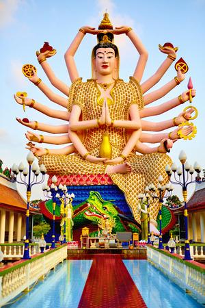 shiva: Thailand Landmark. Statue Of Big Eighteen Arms Guan Yin Shiva, Buddha Cundi Bodhisattva In Wat Phra Yai, The Big Buddha Temple At Koh Samui. Buddhism Religion Symbol. Spirituality.Travel, Tourism