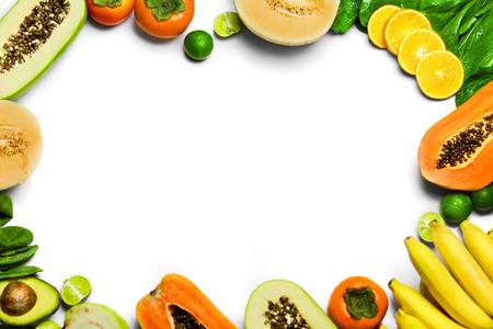 bok choy: Vegetables And Fruit Background. Healthy Fresh Raw Organic Food :  Bok Choy, Papaya, Salad, Persimmon, Avocado, Lime, Bananas , Melon, Guava, Oranges. Vegetarian Nutrition. Diet And Vitamins Concept