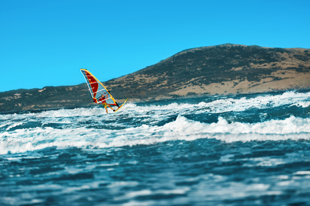 recreational sports: Recreational Water Sports. Windsurfing. Windsurfer Surfing The Wind On Waves In Ocean, Sea. Extreme Sport Action. Recreational Sporting Activity. Healthy Active Lifestyle. Summer Fun Adventure. Hobby