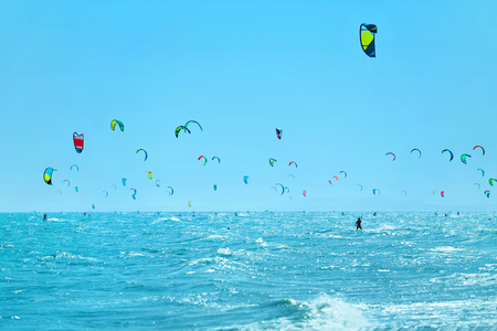 sporting activity: Kiteboarding, Kitesurfing. Water Sports. Scenic View Of Many Kitesurfers In Sea, Seascape On Background. Extreme Sport. Healthy Active Lifestyle. Recreational Sporting Activity. Summer Fun, Adventure