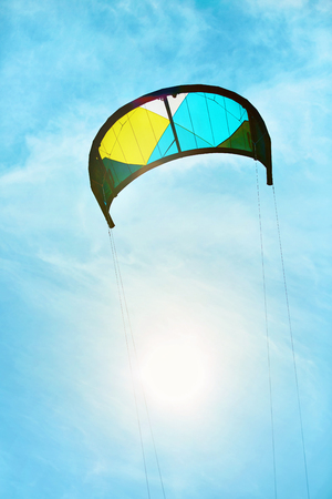 sporting equipment: Sport Equipment. Recreational Extreme Water Sports. Kite ( Parachute ) For Kiteboarding, Kitesurfing Flying In Air In Sky. Summer Adventure, Freedom Concept. Sporting Activity. Active Lifestyle Hobby