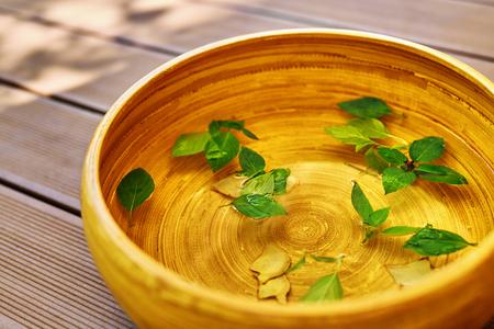 Soin du corps Spa. Foot Spa Basin, bol avec de l'eau, les ingrédients naturels: Peppermint Leaves, Ginger, huiles essentielles, pour Detox Aromathérapie En santé Salon de beauté, Centre. Skin Therapy Pédicure Soins Banque d'images