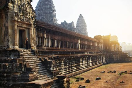 world heritage site: Cambodia Famous Landmark. World Largest Religious Monument, Prasat Angkor ( Nokor ) Wat Temple Complex, Siem Reap. Ancient Khmer Architecture. Tourist Attraction, Travel Destination In Asia. Heritage Stock Photo